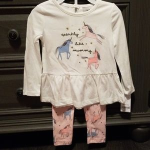Carter's Unicorn outfit 2t NWT
